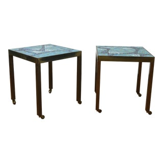 Vintage Brass and Tile Pair of Small Side Tables For Sale