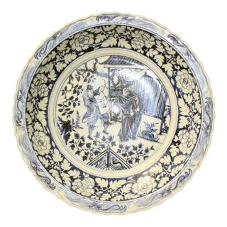 Chinese Blue & White Porcelain Oriental Scenery Display Charger Plate For Sale
