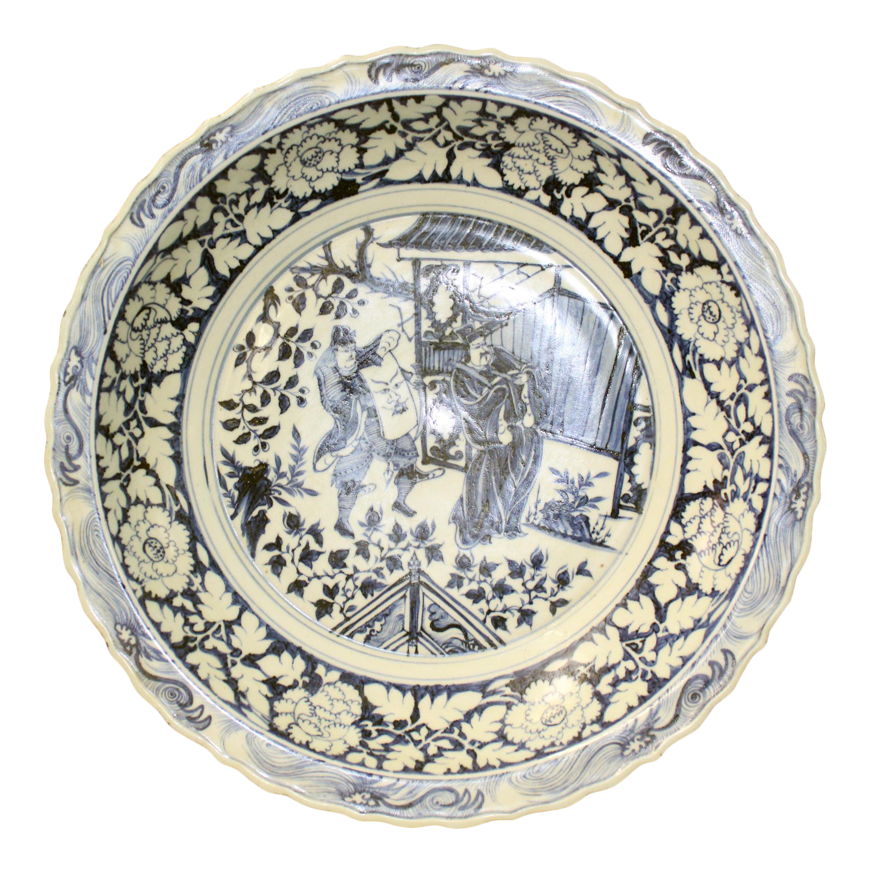 Chinese Blue White Porcelain Oriental Scenery Display Charger Plate Chairish