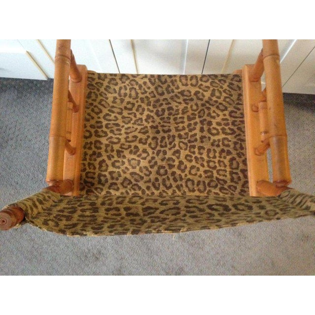Black Directors Chairs From Telescope Chair, Leopard Print Fabric, Midcentury, Pair For Sale - Image 8 of 13