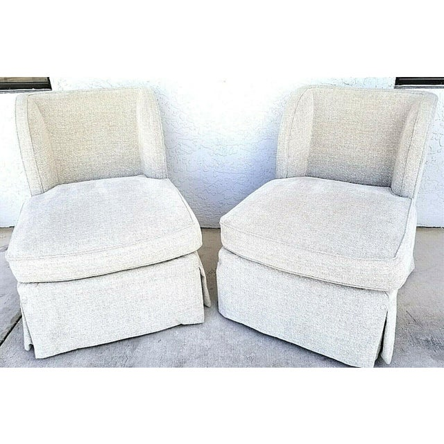 Henredon Upholstery Collection Swivel Winged Slipper Lounge Chairs - Set of 2 For Sale In Miami - Image 6 of 12