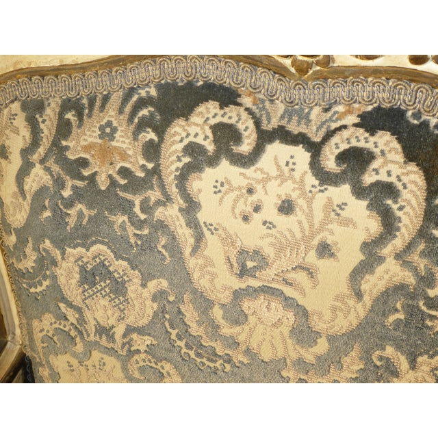 French Provincial Arm Chair With Floral Velvet Upholstery For Sale - Image 9 of 11