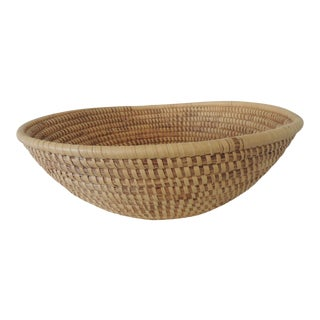 Large Round Woven Seagrass Decorative Basket For Sale