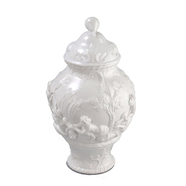 White Capodimonte Italian porcelain urn. Marked underneath crown over N.