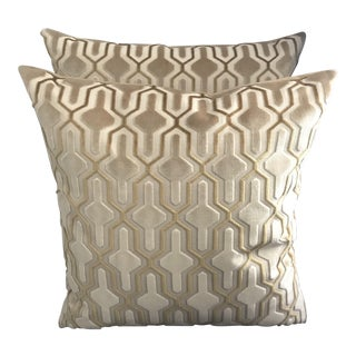 Gold Velvet Geometric Pillows - A Pair