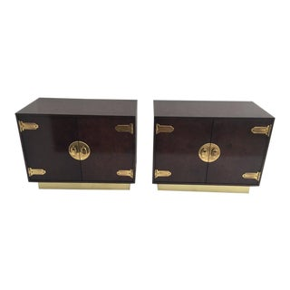 Pair of Mastercraft Burl Wood and Brass Bedside Tables For Sale