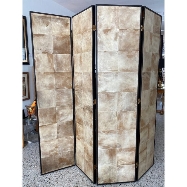 Vintage Jean Michel Frank Style Parchment Room Divider Screen For Sale In West Palm - Image 6 of 11