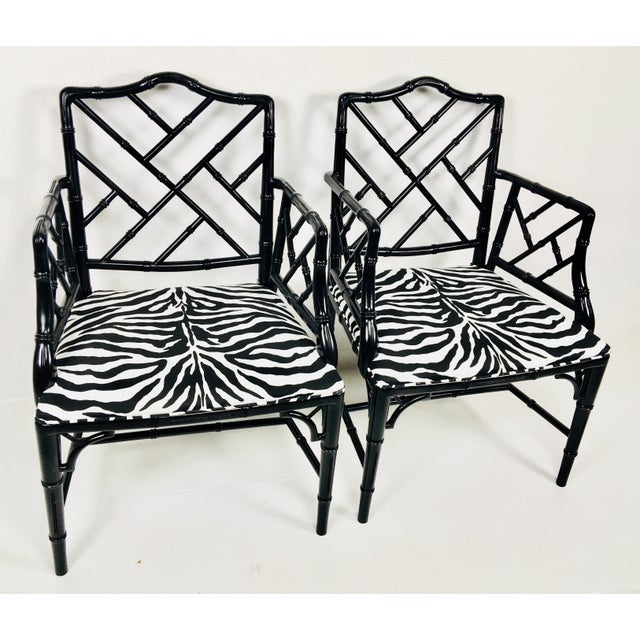Cotton 1970s Chinese Chippendale Style Side Chairs – a Pair For Sale - Image 7 of 8