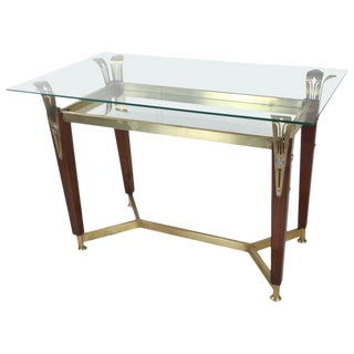 Hollywood Regency Teak, Brass and Glass Console Table or Desk For Sale
