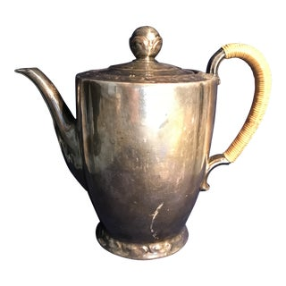 1900s Victorian Silver Lusterware Porcelain Coffeepot For Sale