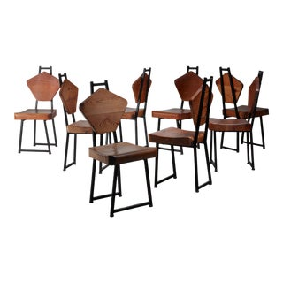 Set of Four Pine and Iron Chairs, France, 1950s For Sale