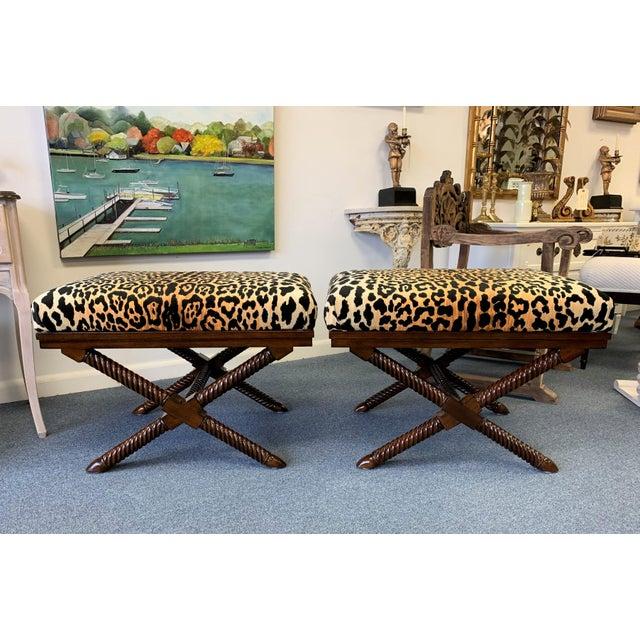 Palecek 1970s Vintage Palecek Hollywood Regency Velvet Leopard X Benches -A Pair For Sale - Image 4 of 12
