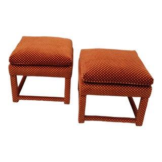 1970s Milo Baughman Style Vintage Orange Velvet Parsons Ottomans - a Pair For Sale