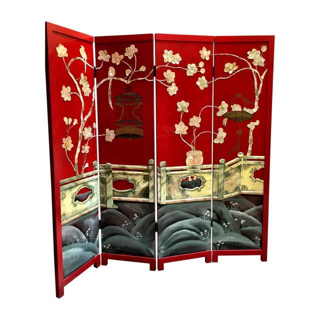 Vintage Red Lacquered Chinese Screen - Image 1 of 11