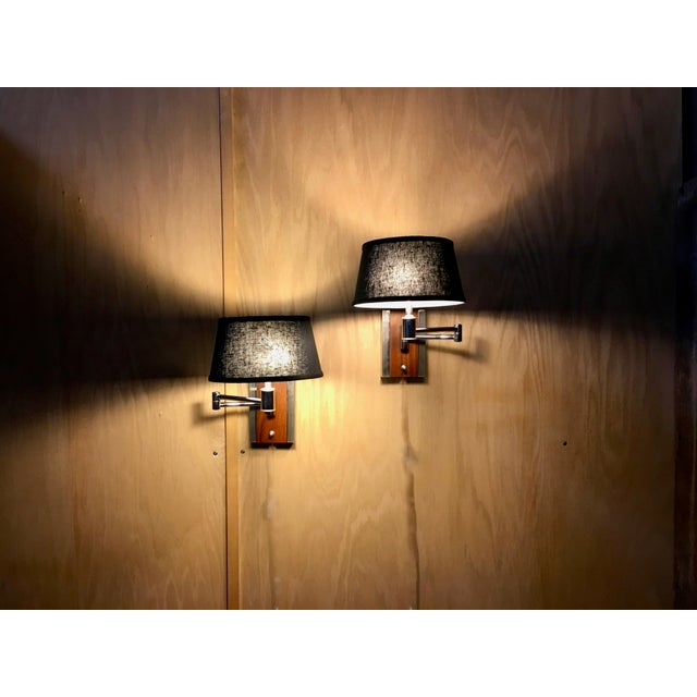 Mid-Century Modern Walnut and Chrome Articulated Sconces - a Pair For Sale - Image 4 of 13