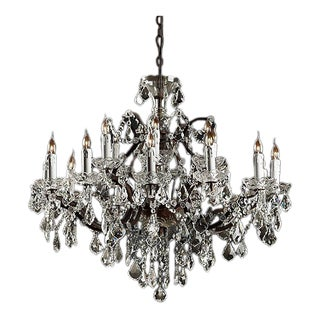 19th Century Rococo Iron & Clear Crystal Round Chandelier For Sale