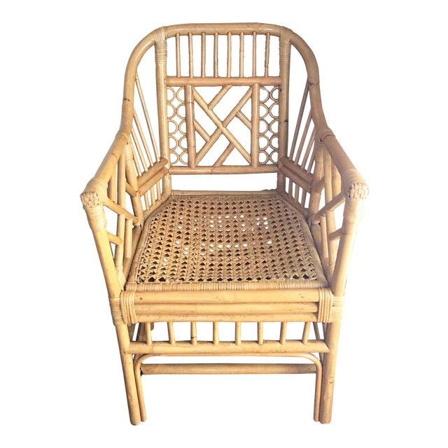 Vintage Mid Century Chinoiserie Brighton Pavilion Style Rattan & Cane Arm Chair For Sale