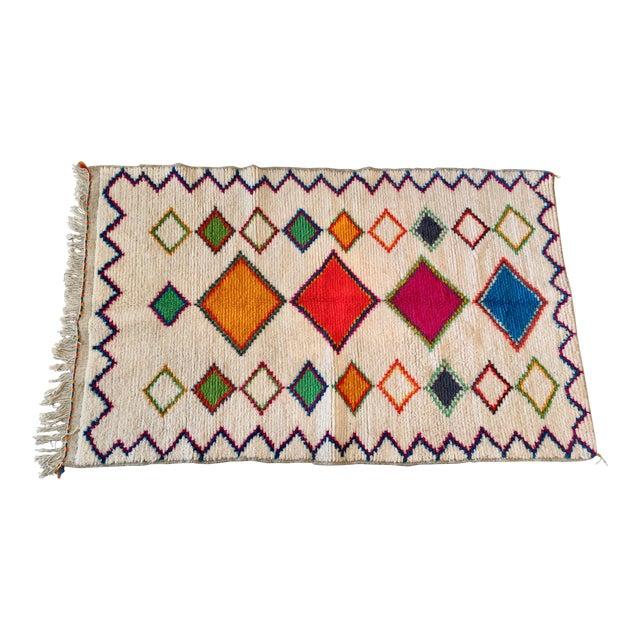Vintage Handmade Moroccan Multi-Colored Wool Rug- 4′4″ × 7′2″ For Sale