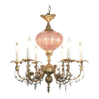 Custom Gilt and Silver Leaf With Murano Bullicante Center Six Light Chandelier For Sale