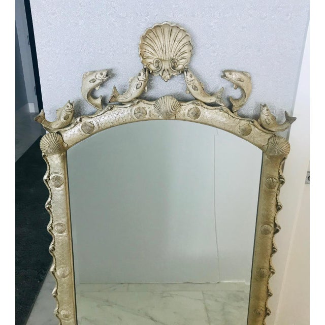 Exquisite Hollywood Regency Scalloped Mirror in Antique Sterling Silver Leaf For Sale In Miami - Image 6 of 13