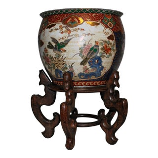 20th Century Antique Hand Painted Fish Bowl on Rosewood Stand For Sale