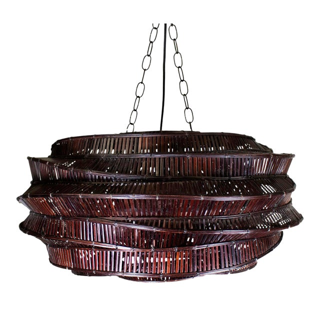 """Thai Bamboo Intricately Woven """"Cloud"""" Chandelier For Sale"""