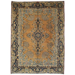 "Mid Century Vintage Persian Mashhad Rug- 9'9"" x 13'1"" For Sale"