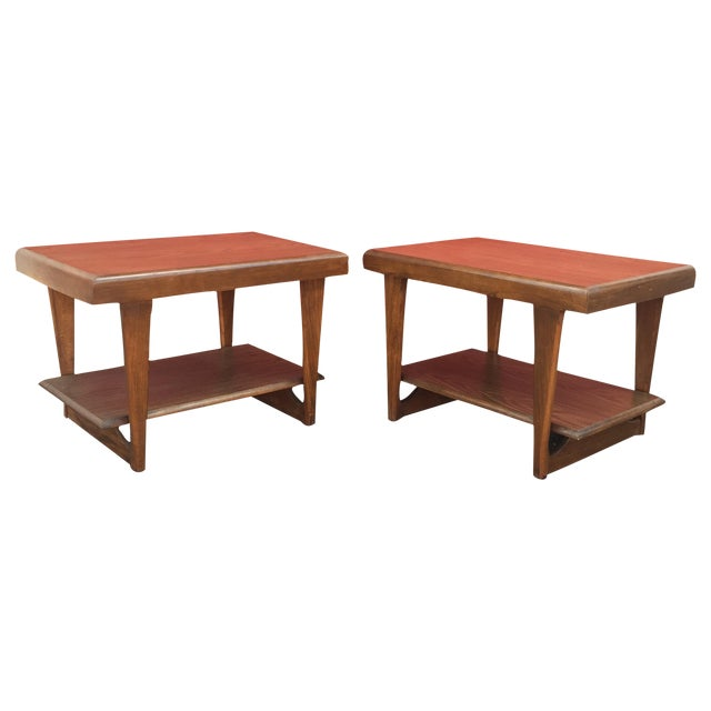 Mid-Century Modern Shelved Side Tables - A Pair - Image 1 of 7