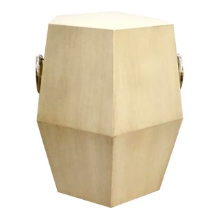 Ambella Home Modern Hexagonal Ivory Finished Wood Side Table For Sale