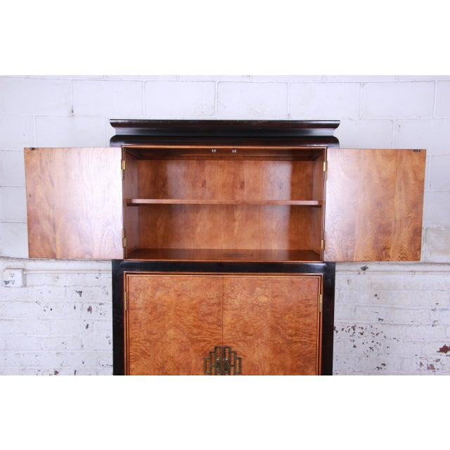 Century Furniture Black Lacquer and Burl Wood Chinoiserie Armoire Dresser For Sale - Image 9 of 13