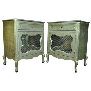 1950s Hollywood Regency French Silver Leaf Bedside Tables - a PAir For Sale