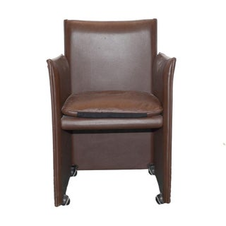 Late 20th Century Mario Bellini for Cassina Brown Leather 401 Break Chair For Sale
