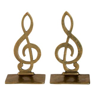Brass Music Note Bookends - a Pair For Sale