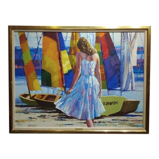"""Howard Behrens """"Girl on Beach by Sail Boats"""" 1970s Vintage Oil Painting For Sale"""
