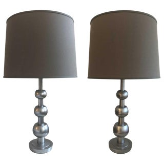 Tommi Parzinger Stacked Orb Table Lamp With Shade - a Pair For Sale