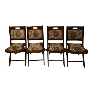 Vintage Victorian Style Campaign Parlor Chairs - Set of 4 For Sale