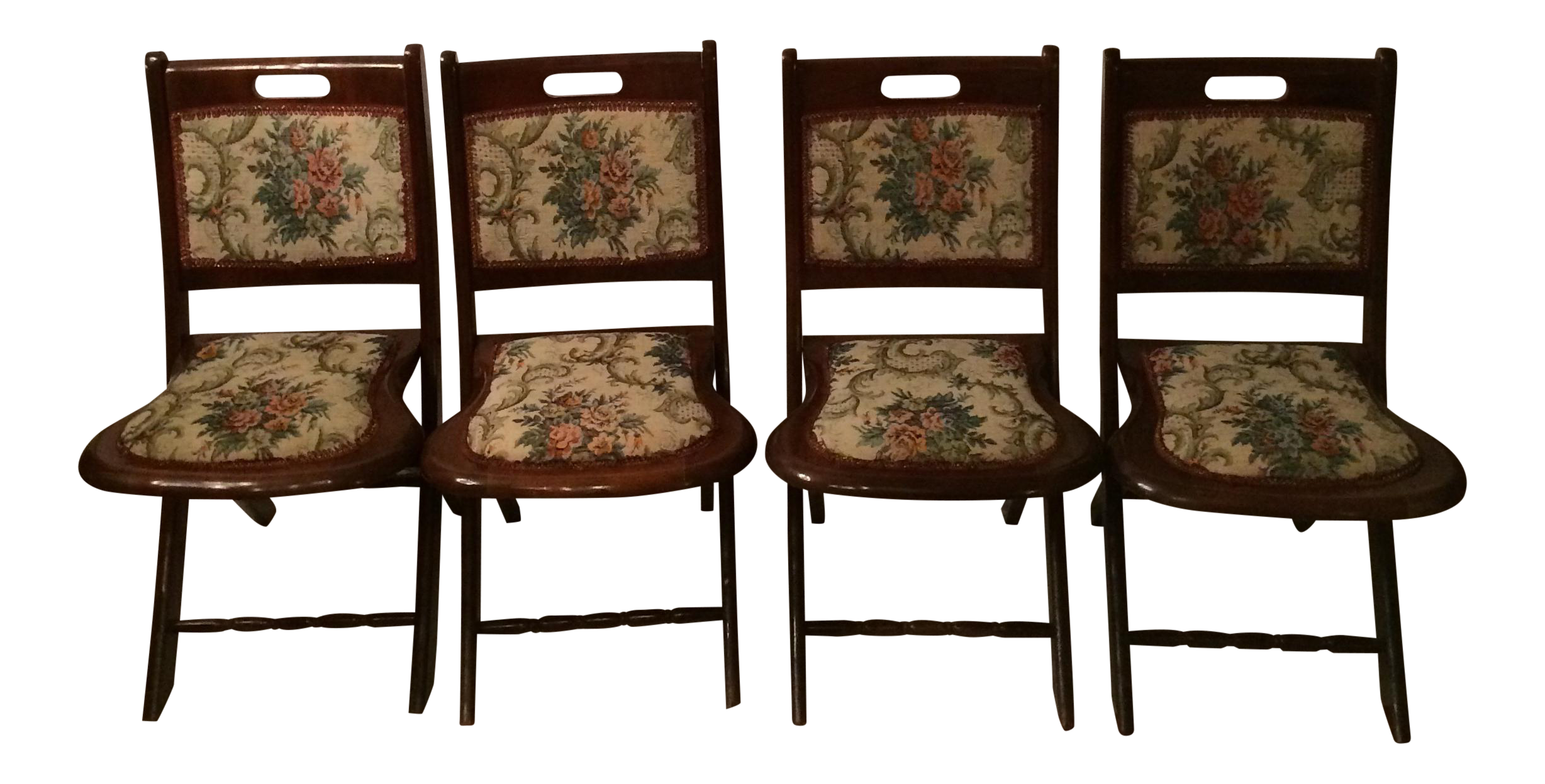 Vintage Victorian Style Campaign Parlor Chairs   Set Of 4