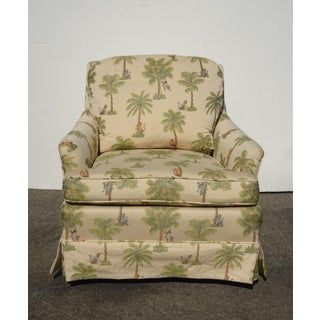 Vintage French Country Tommy Bahama Style Lounge Chair W Palm Trees & Monkeys Preview
