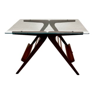 1950s Italian Magazine Holder Low Table with Glass Top For Sale