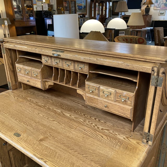 English Mid 20th Century Jefferson Oak Roll Top Desk For Sale - Image 3 of 13