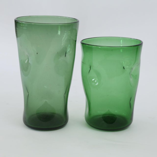 Excellent Italian Green Glass Vase Collection Decaso