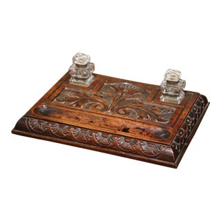 Mid-19th Century French Louis XIII Carved Walnut and Cut Glass Inkwell For Sale