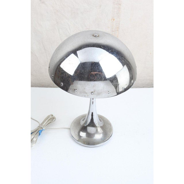 Mid-Century Modern Mid-Century Modern Chrome Table Lamp With Rivets For Sale - Image 3 of 7