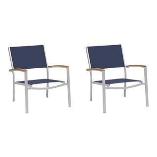 Outdoor Sling Lounge Chair, Natural and Ink (Set of 2) For Sale