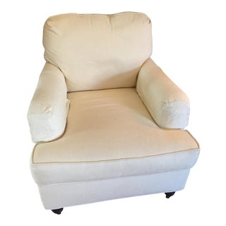 Calico Corners Soft Linen Club Chair in Cream Upholstery