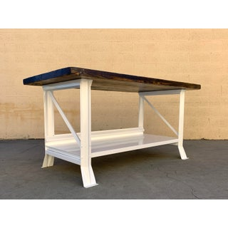 Large Refinished Vintage Work Table With Antique Reclaimed Wood Top Preview