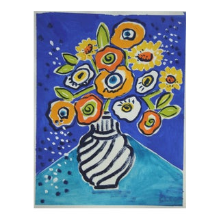 Yellow Flowers in Vase Painting by Cleo Plowden For Sale