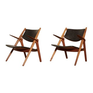 Vintage Hans Wegner Ch 28 Sawbuck Armchairs- A Pair For Sale