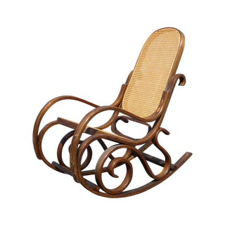 Bentwood Cane Back Rocking Chair In The Style of Michael Thonet For Sale