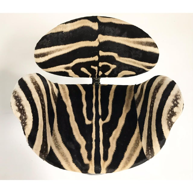 Chrome Vintage Pierre Paulin Tulip Bar Stool Chairs Restored in Zebra Hide - Set of 3 For Sale - Image 7 of 9